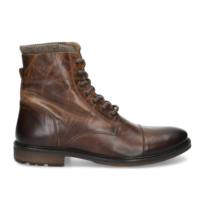Zimowe skórzane buty męskie za kostkę bata, brązowy, 896-4716 - 19