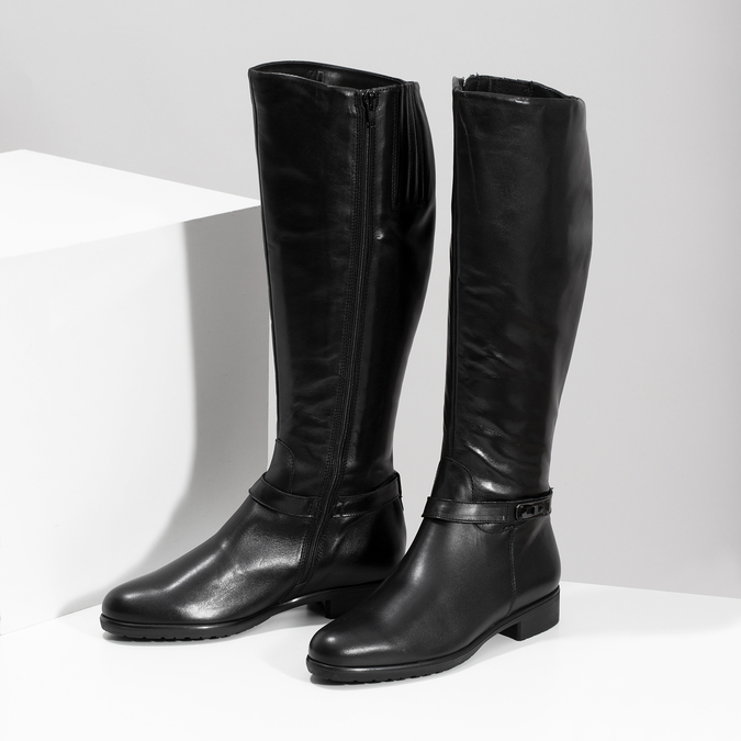 Czarne skórzane kozaki damskie bata, czarny, 594-6676 - 16
