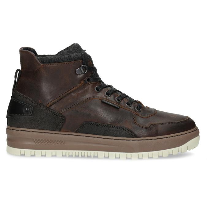 Zimowe skórzane obuwie męskie za kostkę bata, brązowy, 896-3712 - 19