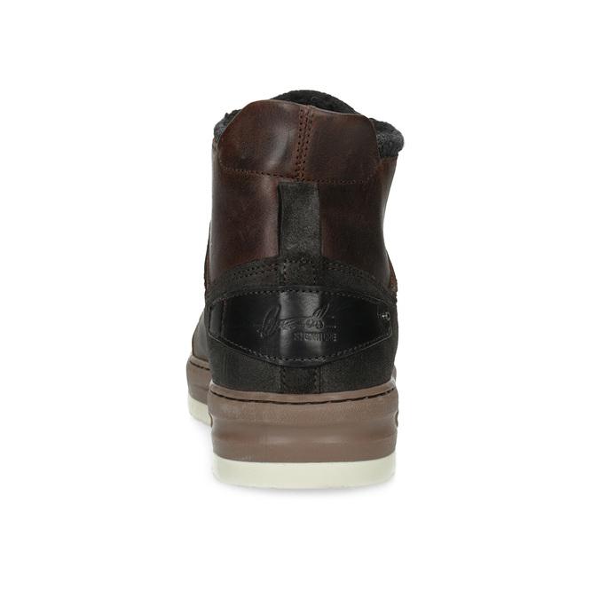 Zimowe skórzane obuwie męskie za kostkę bata, brązowy, 896-3712 - 15