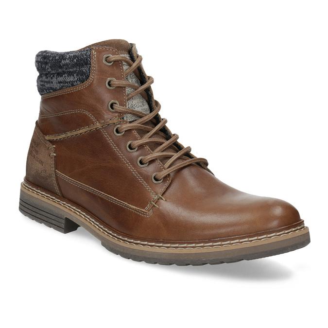Brązowe skórzane obuwie męskie za kostkę bata, brązowy, 896-3713 - 13