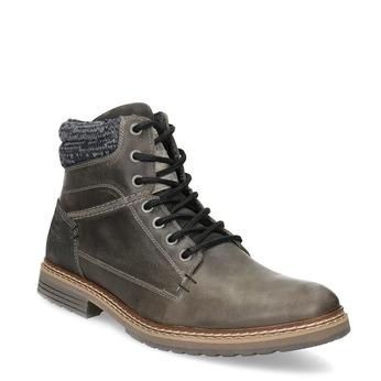 Skórzane obuwie męskie za kostkę, zdzianiną bata, szary, 896-2713 - 13