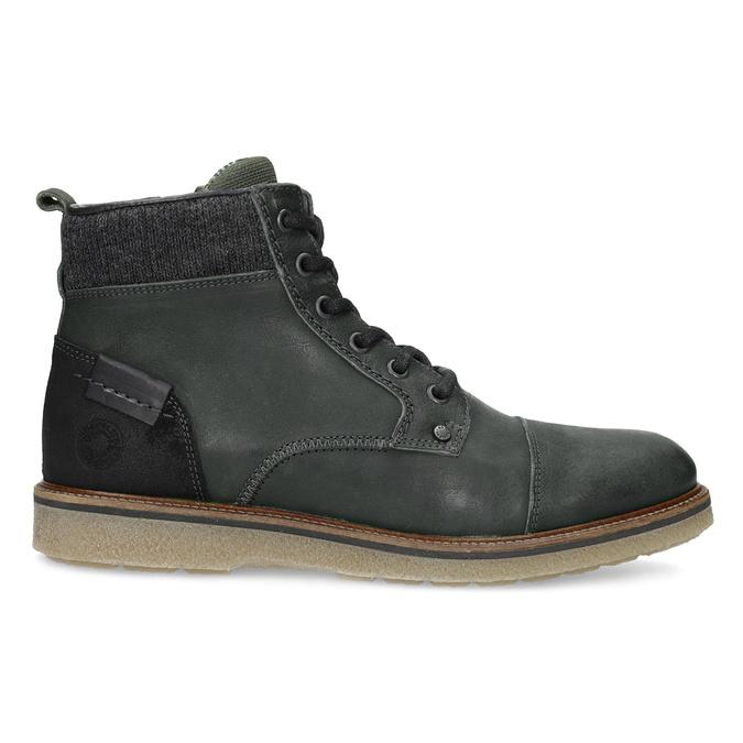 Zielone skórzane obuwie męskie za kostkę bata, zielony, 896-7669 - 19