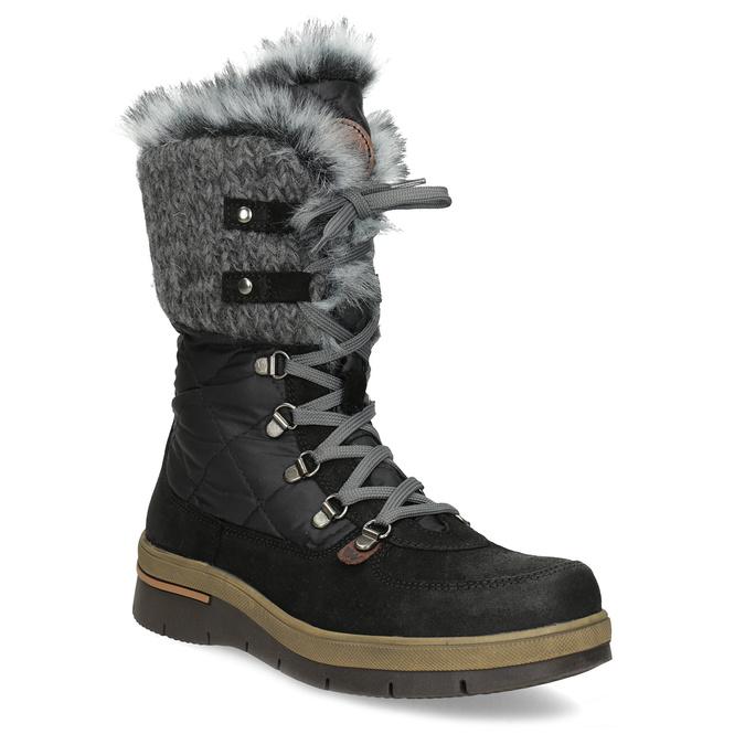 Czarne zimowe obuwie damskie zfuterkiem weinbrenner, czarny, 596-6755 - 13