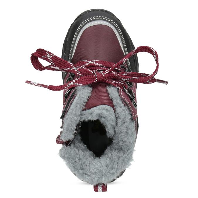 Bordowe sznurowane śniegowce dziewczęce, czerwony, 199-5613 - 17