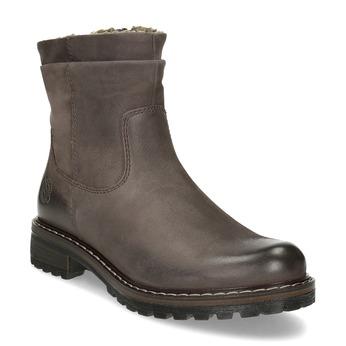 Skórzane kozaki damskie zociepliną bata, brązowy, 596-4703 - 13