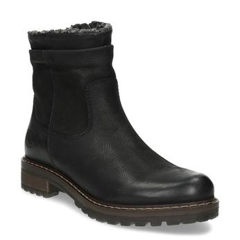 Skórzane kozaki damskie zociepliną bata, czarny, 596-6703 - 13