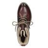 Skórzane botki damskie zociepliną bata, czerwony, 596-5702 - 17