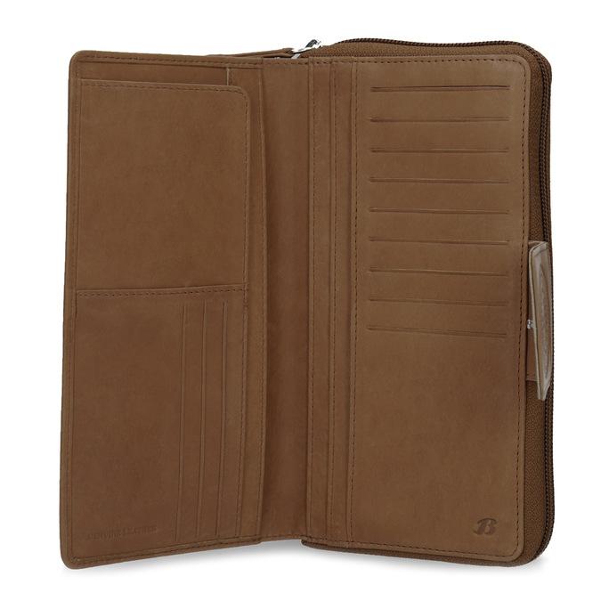 Skórzany portfel damski zdekoracyjnym elementem bata, brązowy, 944-4615 - 15
