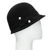 Czarny kapelusz damski zperełkami bata, czarny, 909-6283 - 13