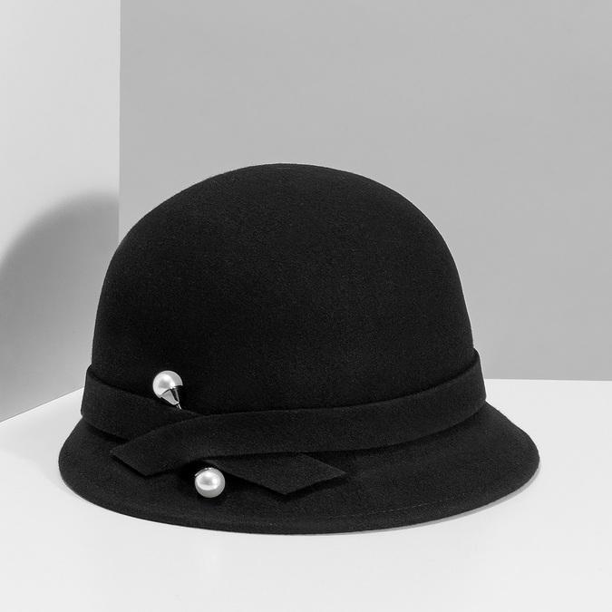 Czarny kapelusz damski zperełkami bata, czarny, 909-6283 - 15