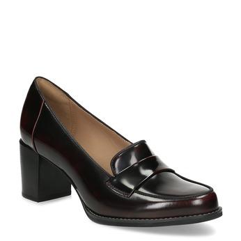 Bordowe skórzane loafersy na obcasach clarks, czerwony, 726-5070 - 13