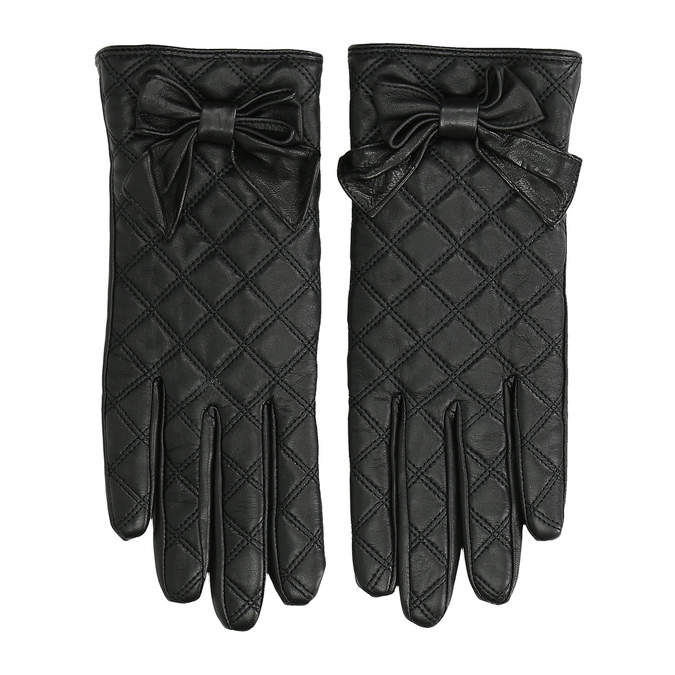 Pikowane skórzane rękawiczki damskie bata, czarny, 904-6139 - 26