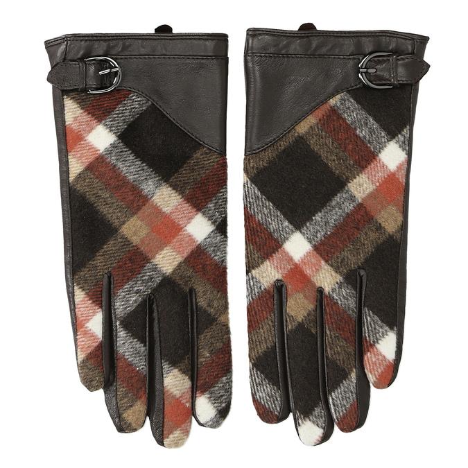 Brązowe skórzane rękawiczki damskie wkratkę bata, brązowy, 904-4138 - 26