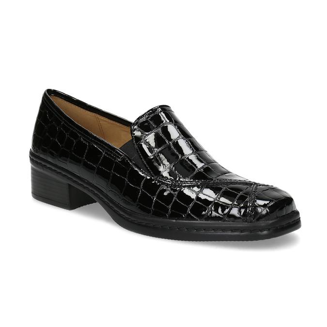 Loafersy damskie zlakierowanej skóry gabor, czarny, 618-6048 - 13