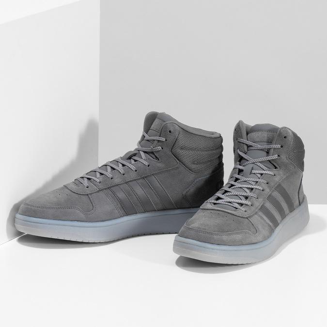 Szare skórzane trampki męskie za kostkę adidas, szary, 803-2118 - 16
