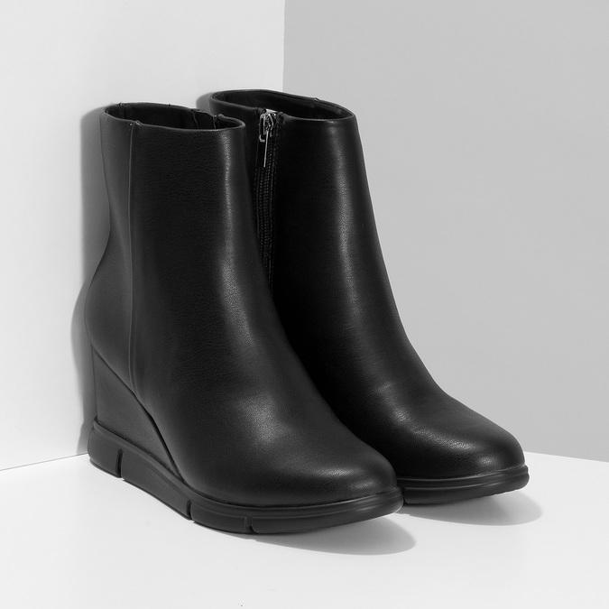 Czarne botki damskie na koturnach bata-b-flex, czarny, 791-6630 - 26
