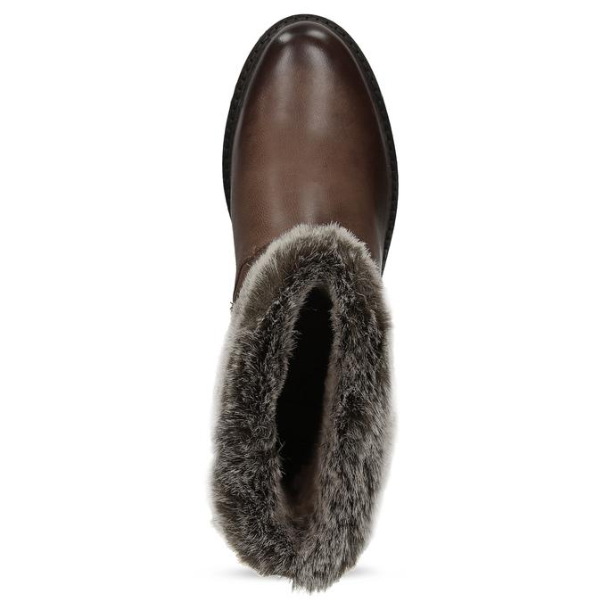 Zimowe skórzane obuwie damskie zfuterkiem bata, brązowy, 596-4701 - 17