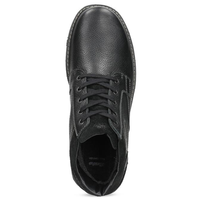 Zimowe skórzane obuwie męskie bata, czarny, 894-6715 - 17