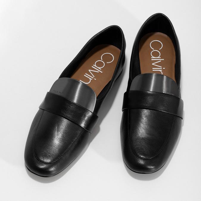Czarne skórzane loafersy damskie calvin-klein, czarny, 514-6075 - 16