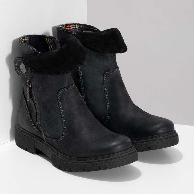 Zimowe skórzane obuwie damskie zprzeszyciami weinbrenner, czarny, 596-6751 - 26