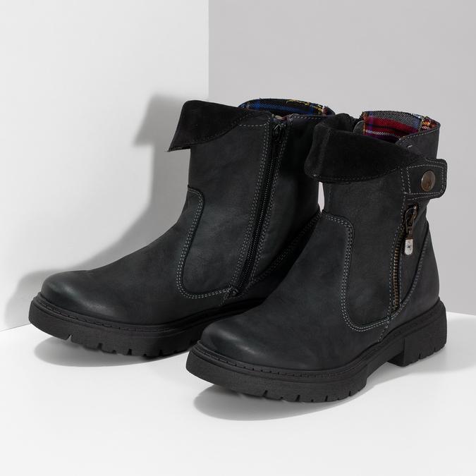 Zimowe skórzane obuwie damskie zprzeszyciami weinbrenner, czarny, 596-6751 - 16