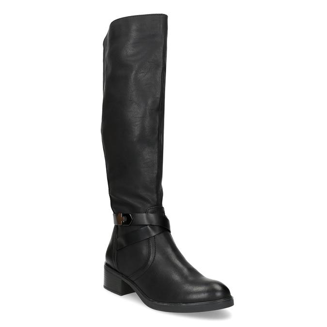 Czarne kozaki damskie zklamrami bata, czarny, 691-6644 - 13