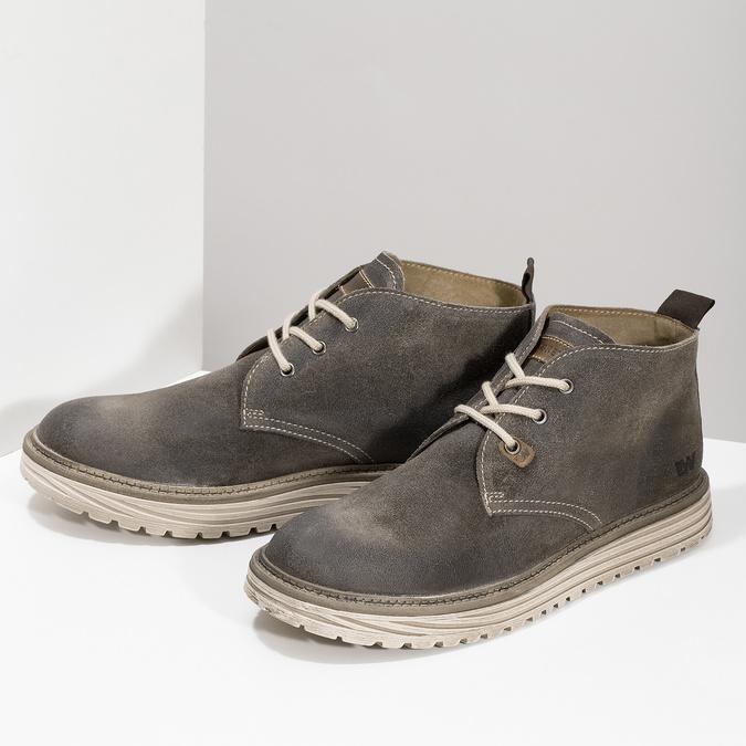 Zamszowe obuwie męskie za kostkę weinbrenner, szary, 896-2735 - 16