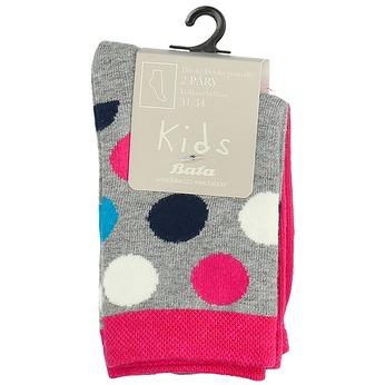 Długie różowe skarpetki dziecięce wgroszki bata, multi color, 919-5686 - 13