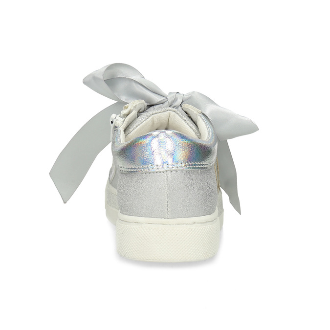 Srebrne trampki dziewczęce ze wstążkami mini-b, srebrny, 321-2372 - 15