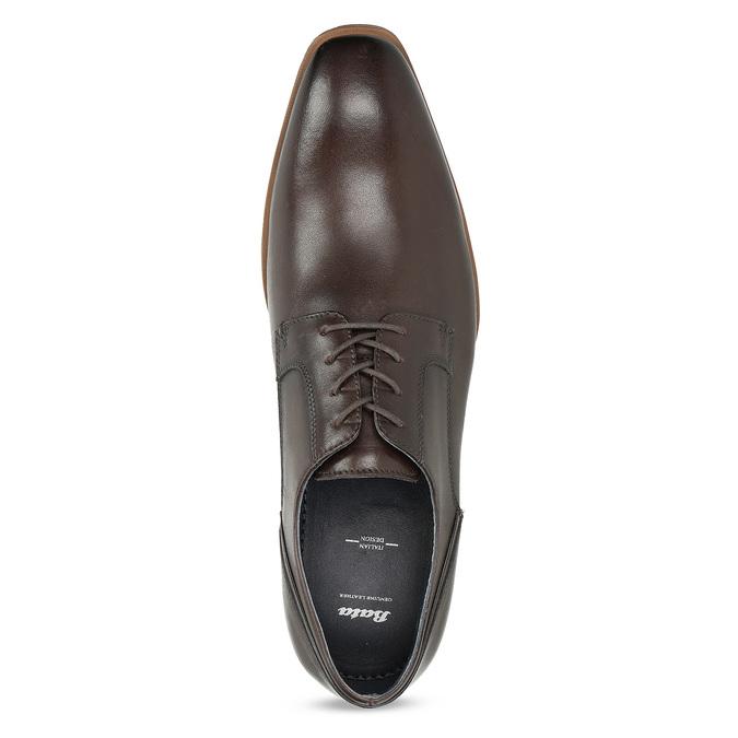 Ciemnobrązowe skórzane półbuty męskie bata, brązowy, 826-4615 - 17