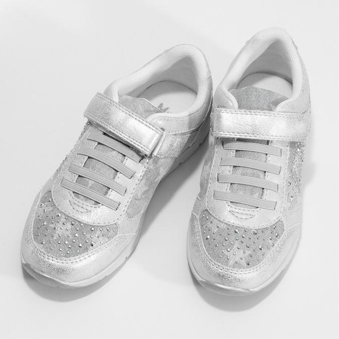 Srebrne trampki dziewczęce zkryształkami mini-b, srebrny, 329-1617 - 16