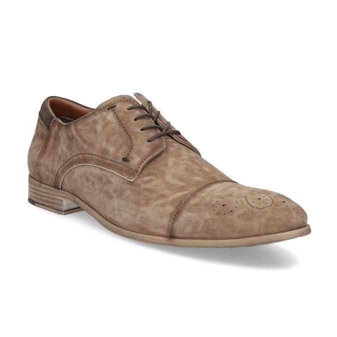 Brązowe skórzane półbuty ze zdobieniami brogue bata, brązowy, 823-3654 - 13