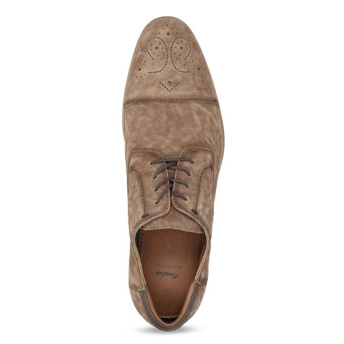 Brązowe skórzane półbuty ze zdobieniami brogue bata, brązowy, 823-3654 - 17