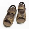 Beżowe skórzane sandały męskie na rzepy weinbrenner, brązowy, 866-2644 - 16